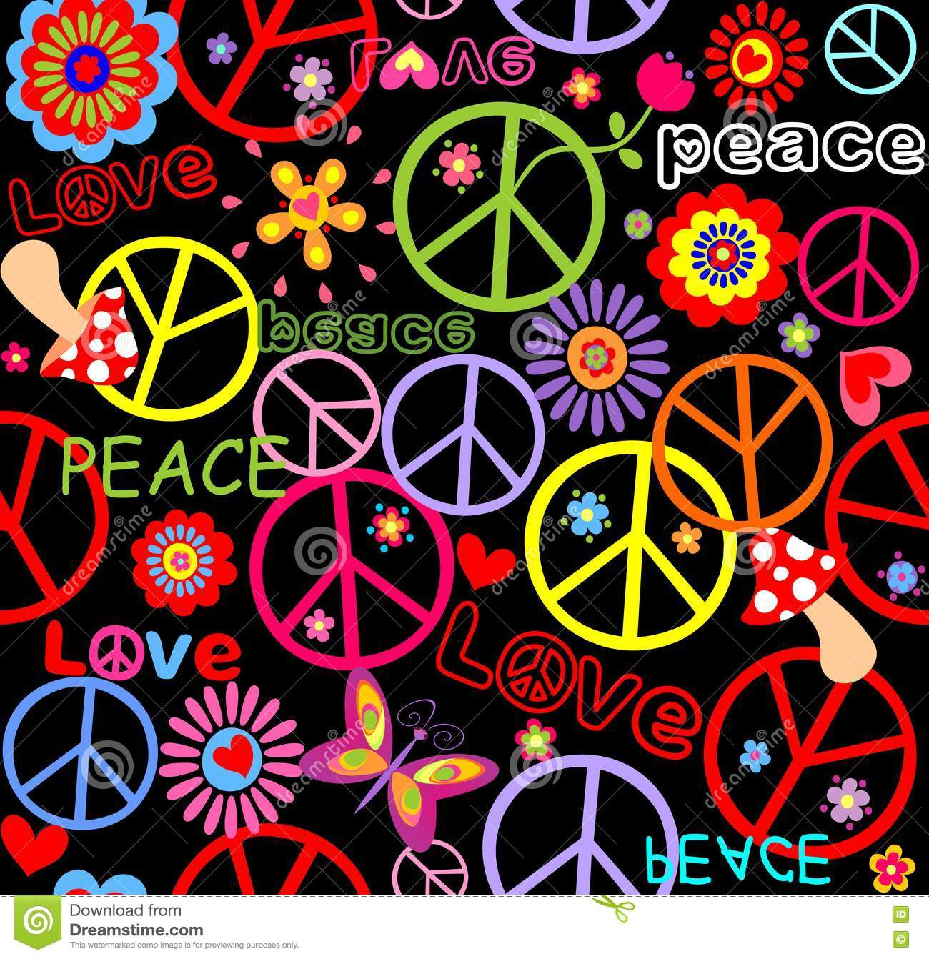 Hippie wallpaper with peace symbol, abstract flowers and mushrooms