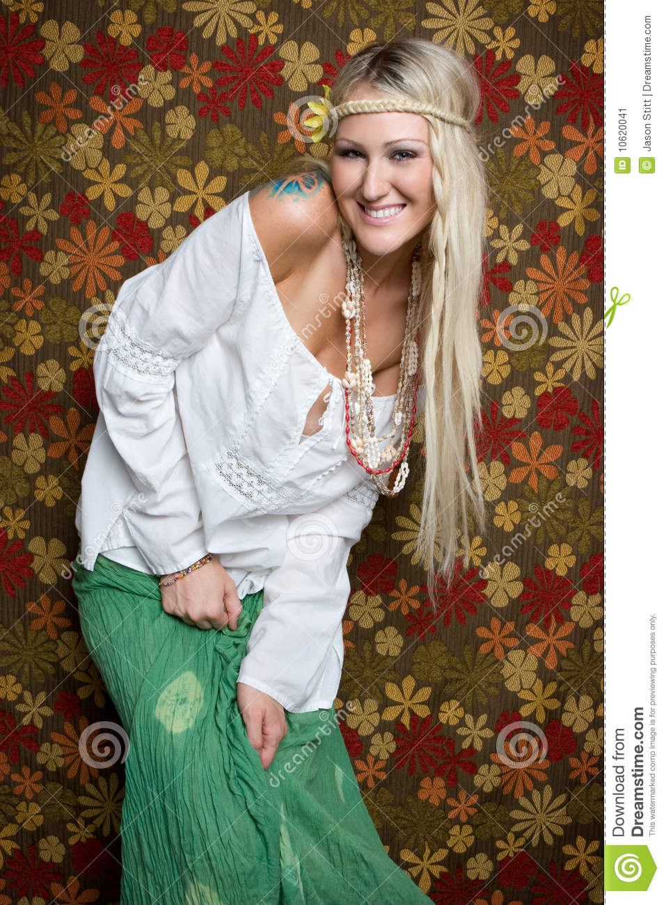 Hippie Woman Stock Image Image Of Laughter Background