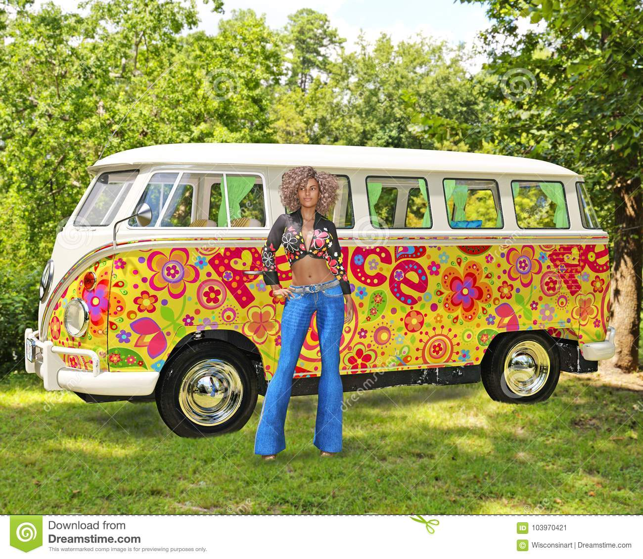 hippie woman vw van bus stock image image of volkswagen. Black Bedroom Furniture Sets. Home Design Ideas