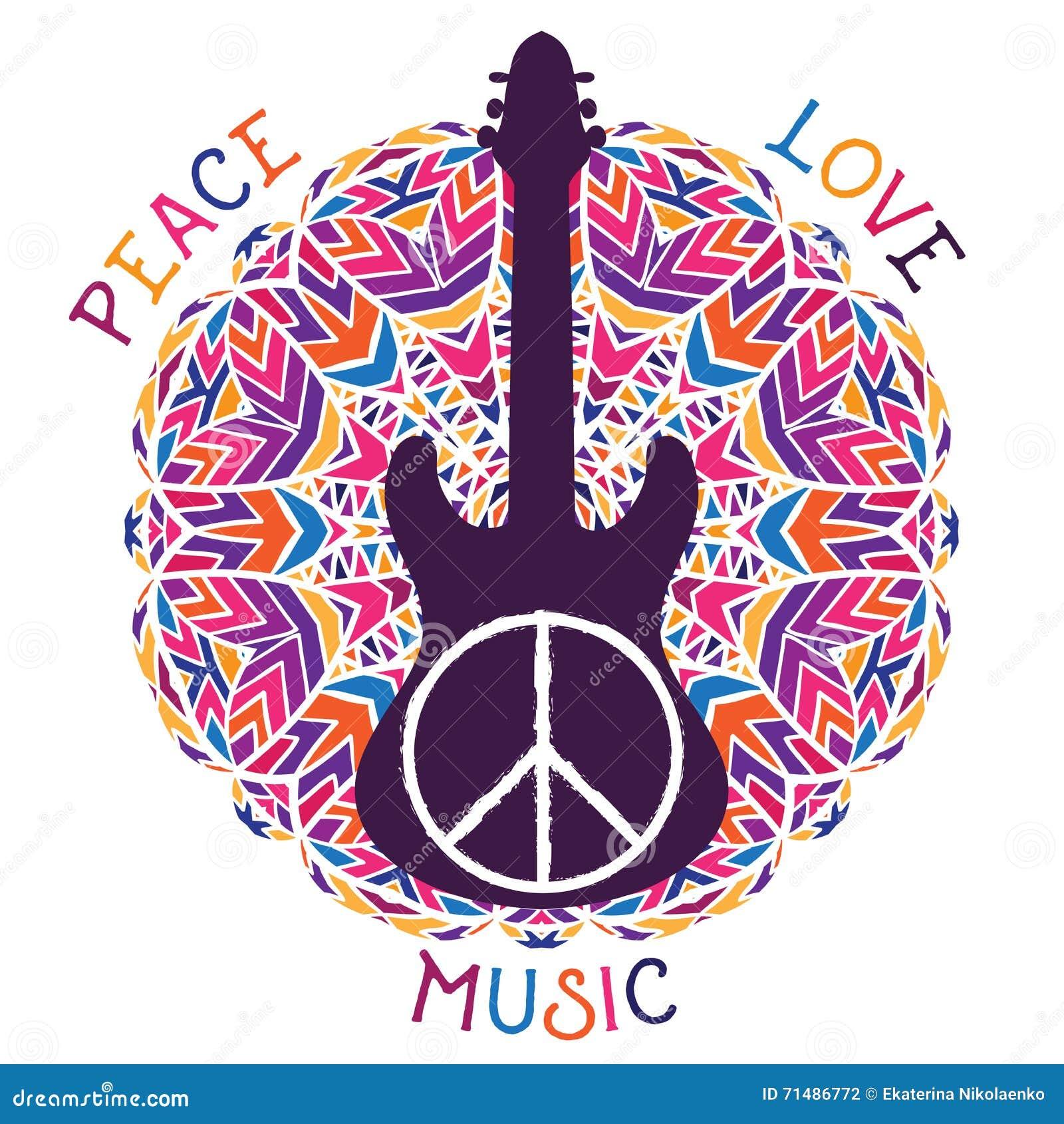 Hippiefredsymbol Fred, förälskelse, musiktecken och gitarr på utsmyckad färgrik mandalabakgrund