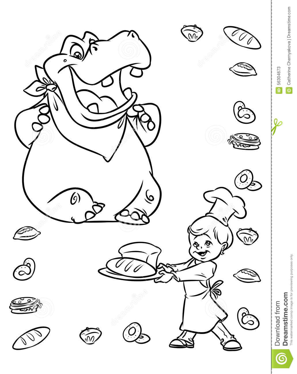 Hippo Animals Coloring Pages Stock Illustration