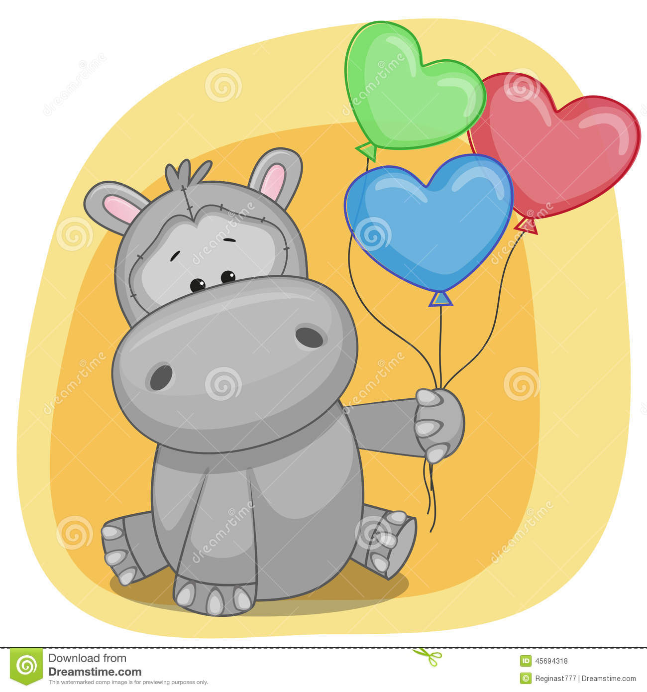 Hippo with balloons stock vector illustration of luck 45694318 hippo with balloons bookmarktalkfo Image collections