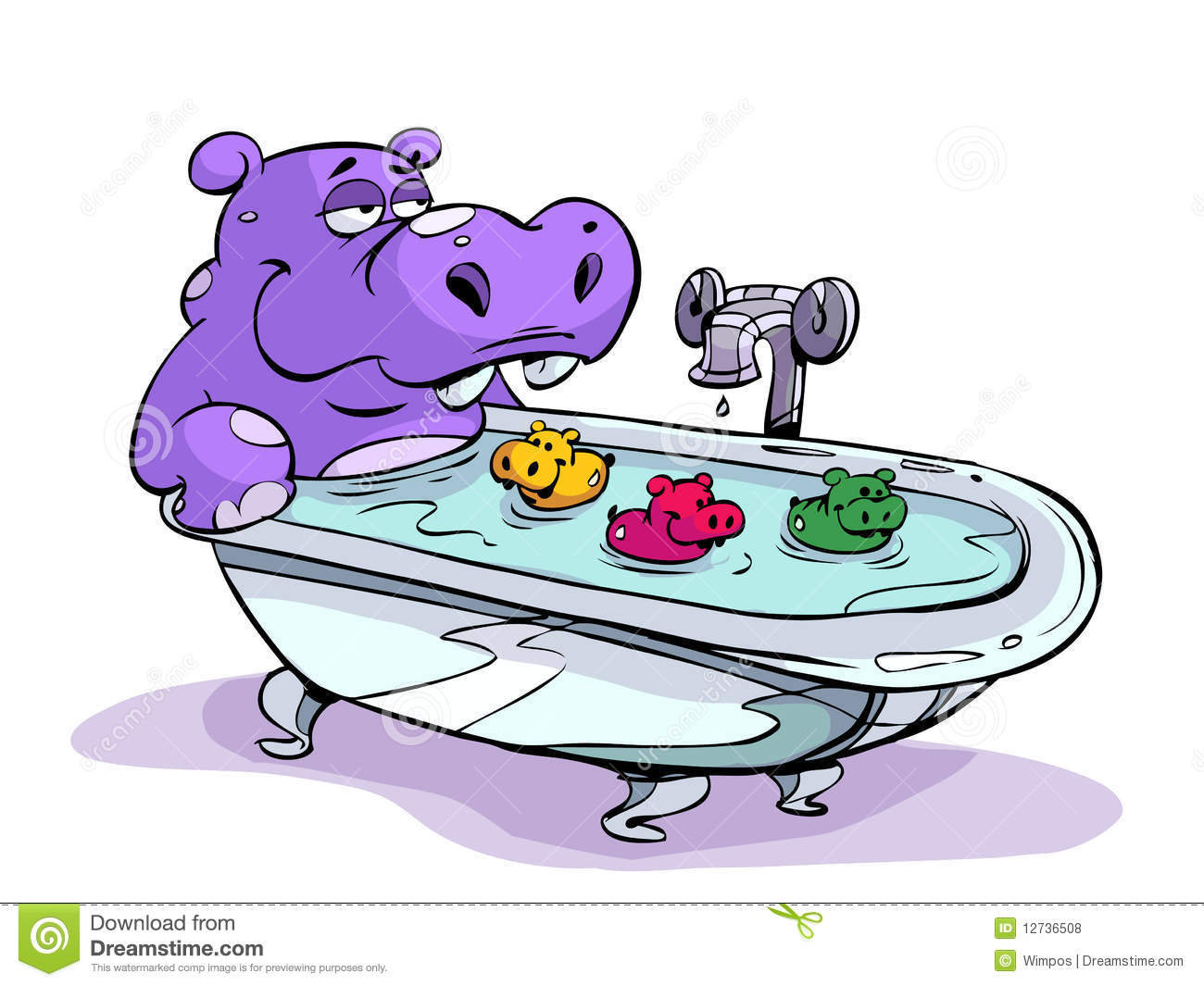 Hippo Bath Stock Vector Image Of Colors Illustrated