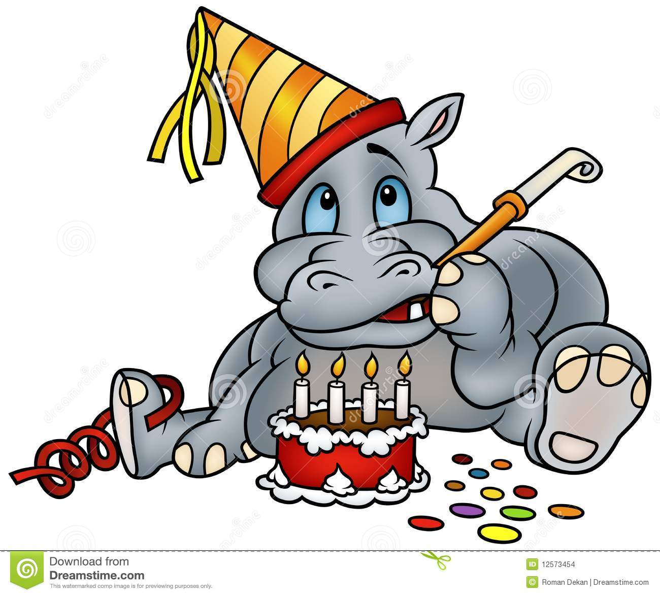 Hippo And Birthday Cake Stock Vector Illustration Of