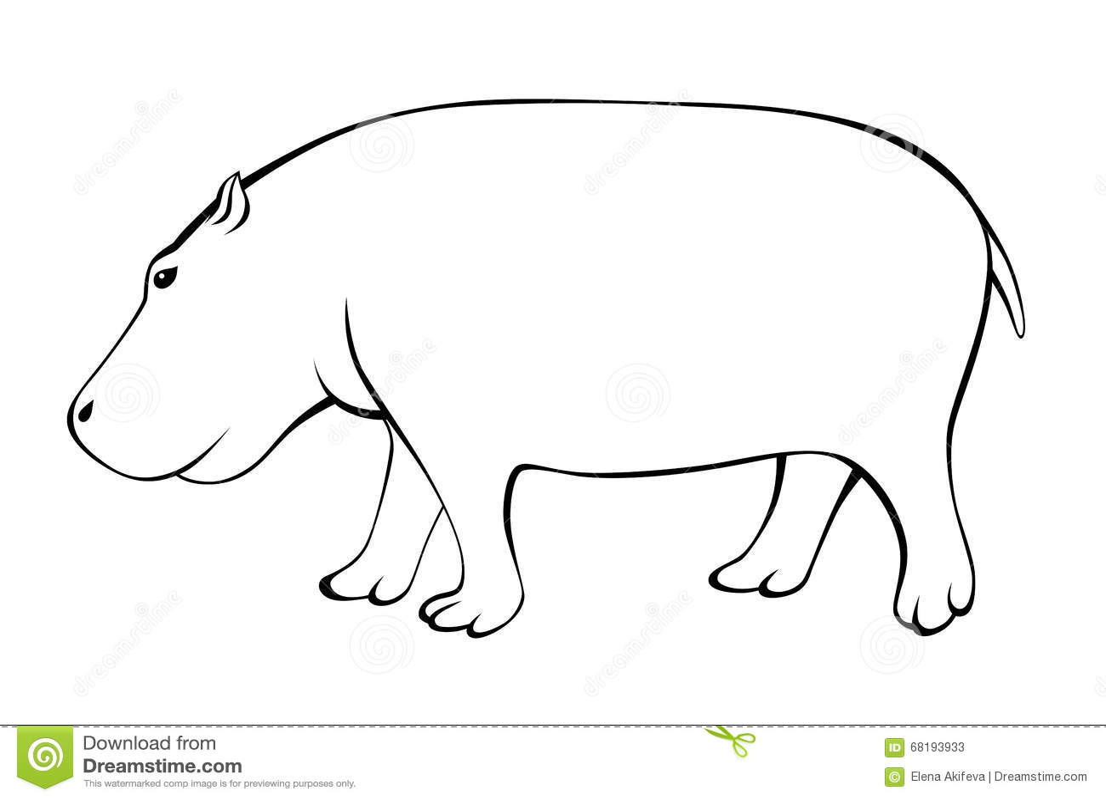 hippo black white isolated illustration stock vector