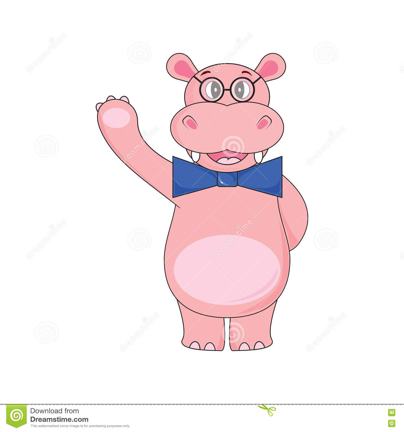 Hippo with bow tie, wearing glasses waving a paw on white background in vector