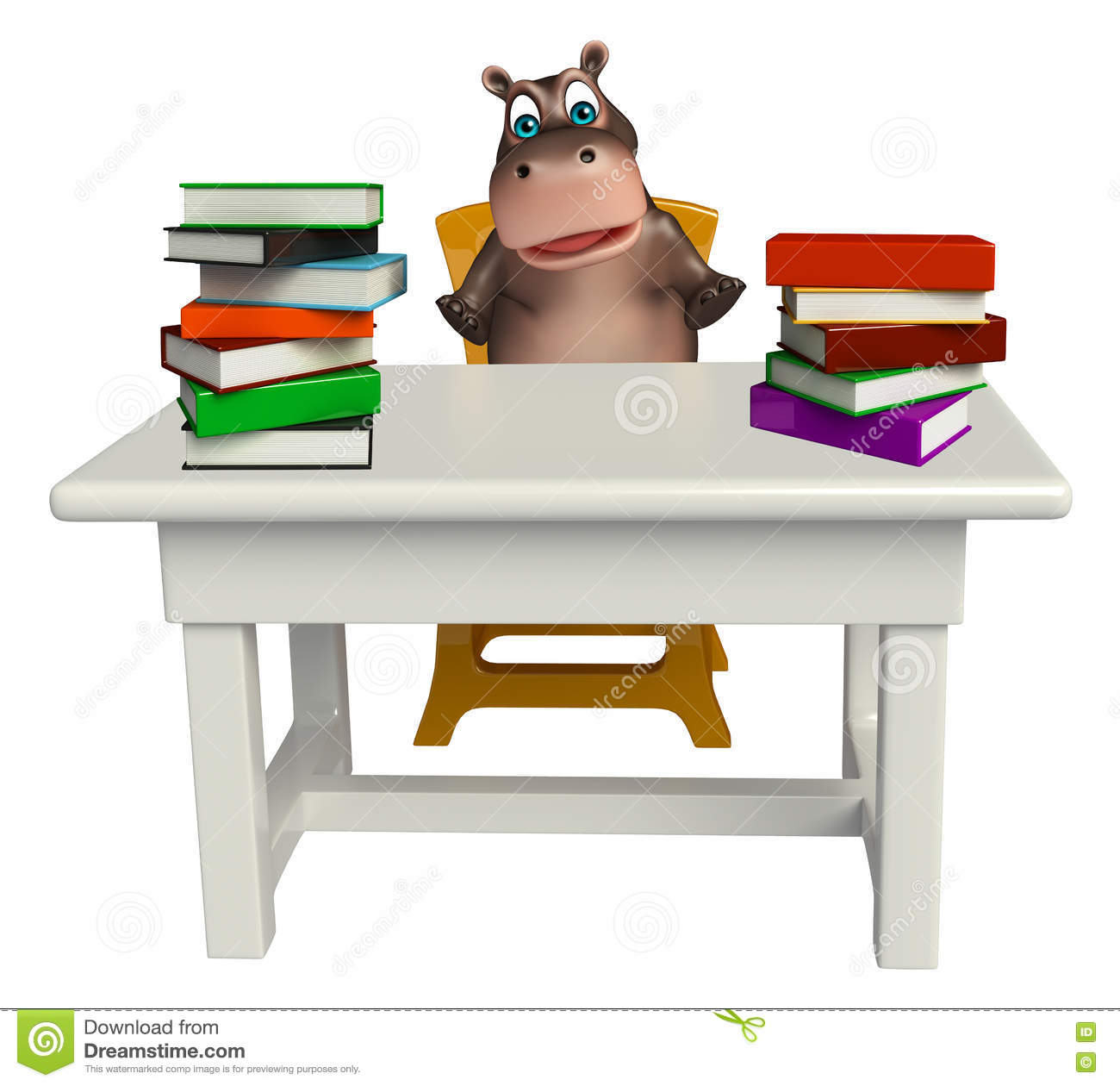 Hippo Table hippo cartoon character with book and table and chair stock