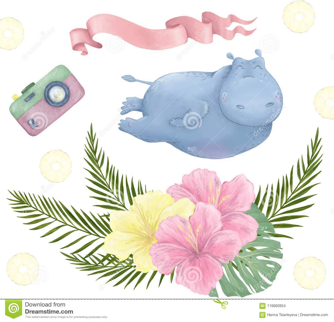 Hippo Cute Clip Art Animal Flying Hippopotamus Digital Set