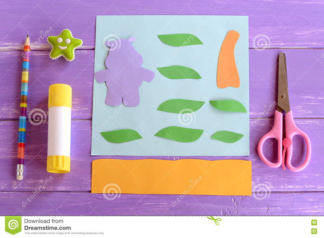 Hippo leaves palm tree trunk cut from colored paper set for Craft paper card stock