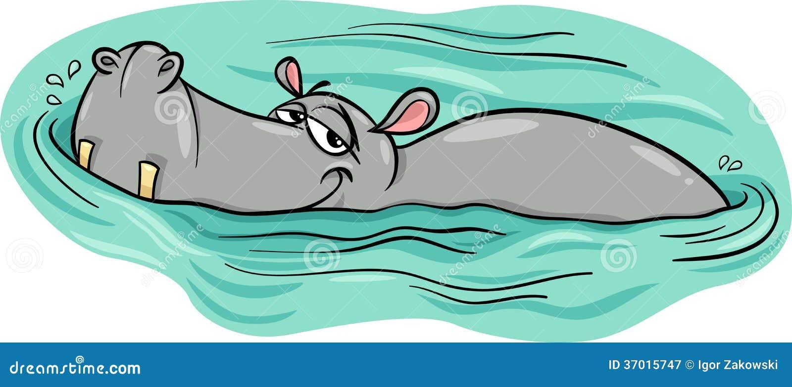 Hippo of nijlpaard in rivierbeeldverhaal