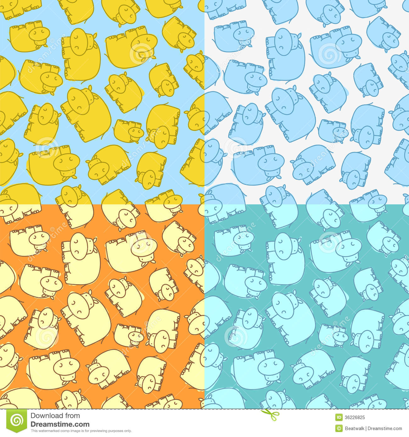 Hippo Pattern Seamless Variegated Colorful Backgrounds Vector