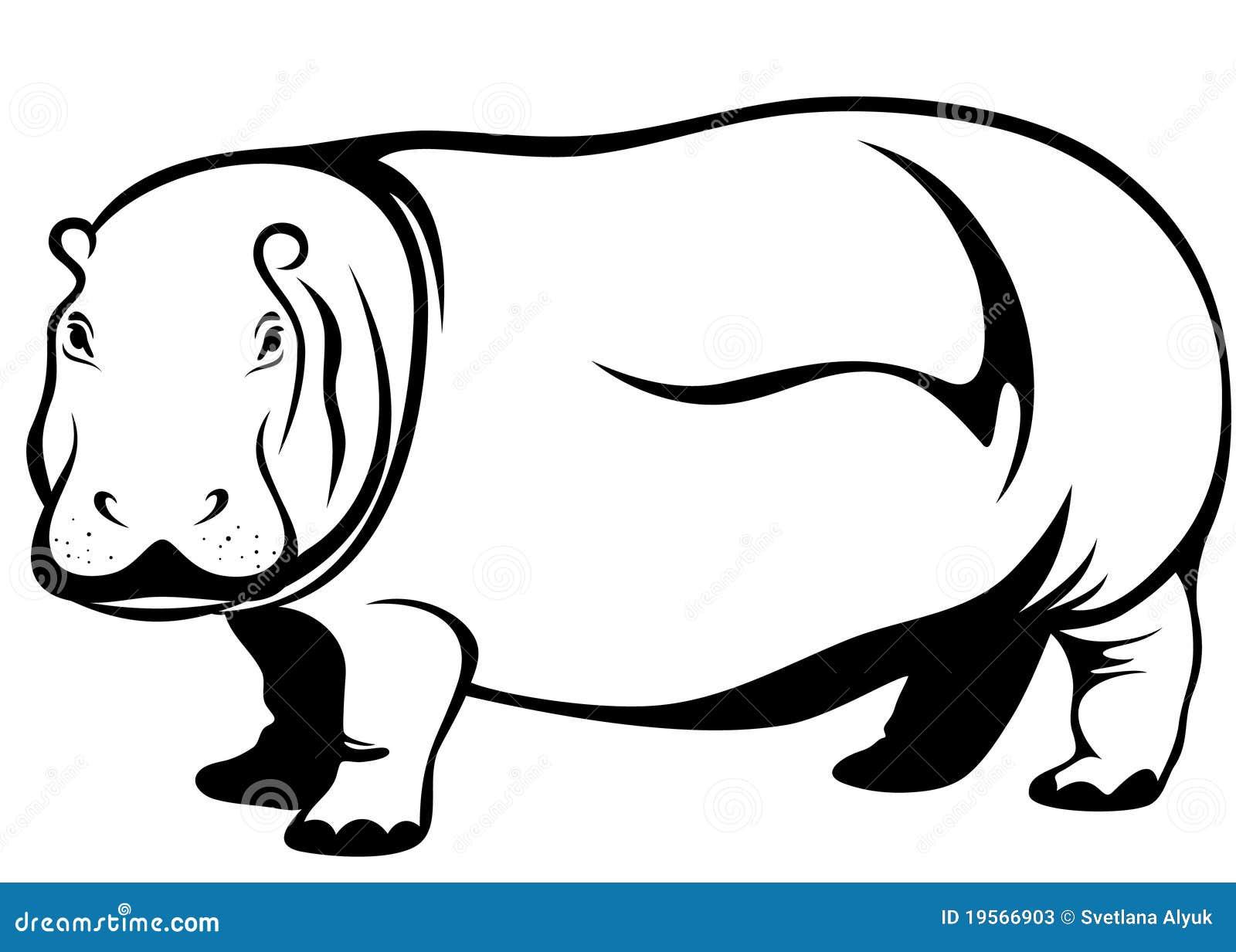 Cute hippopotamus illustration - black and white outline Hippopotamus Black And White