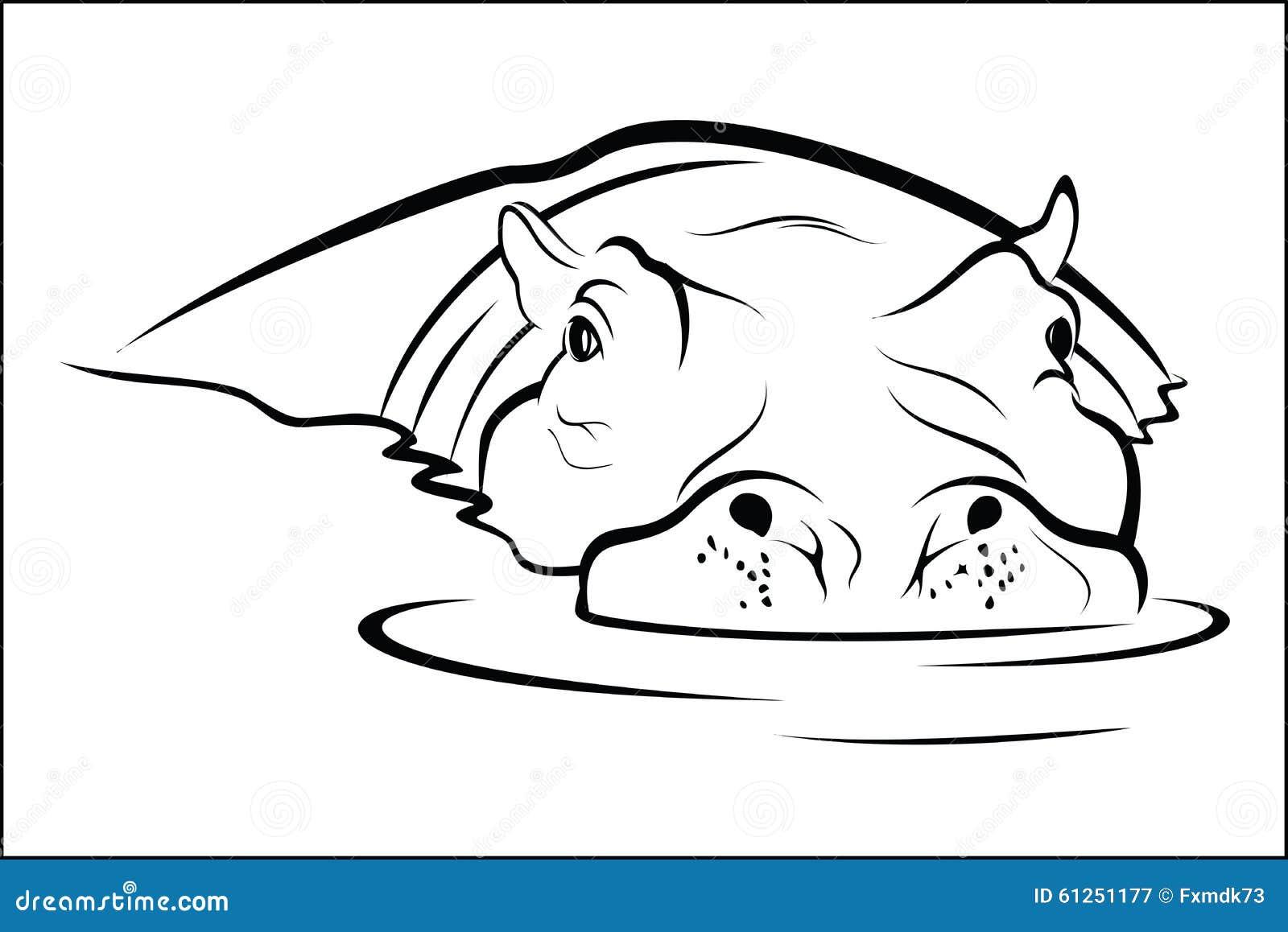 Hippo In Water Stock Vector - Image: 61251177  Hippo In Water ...