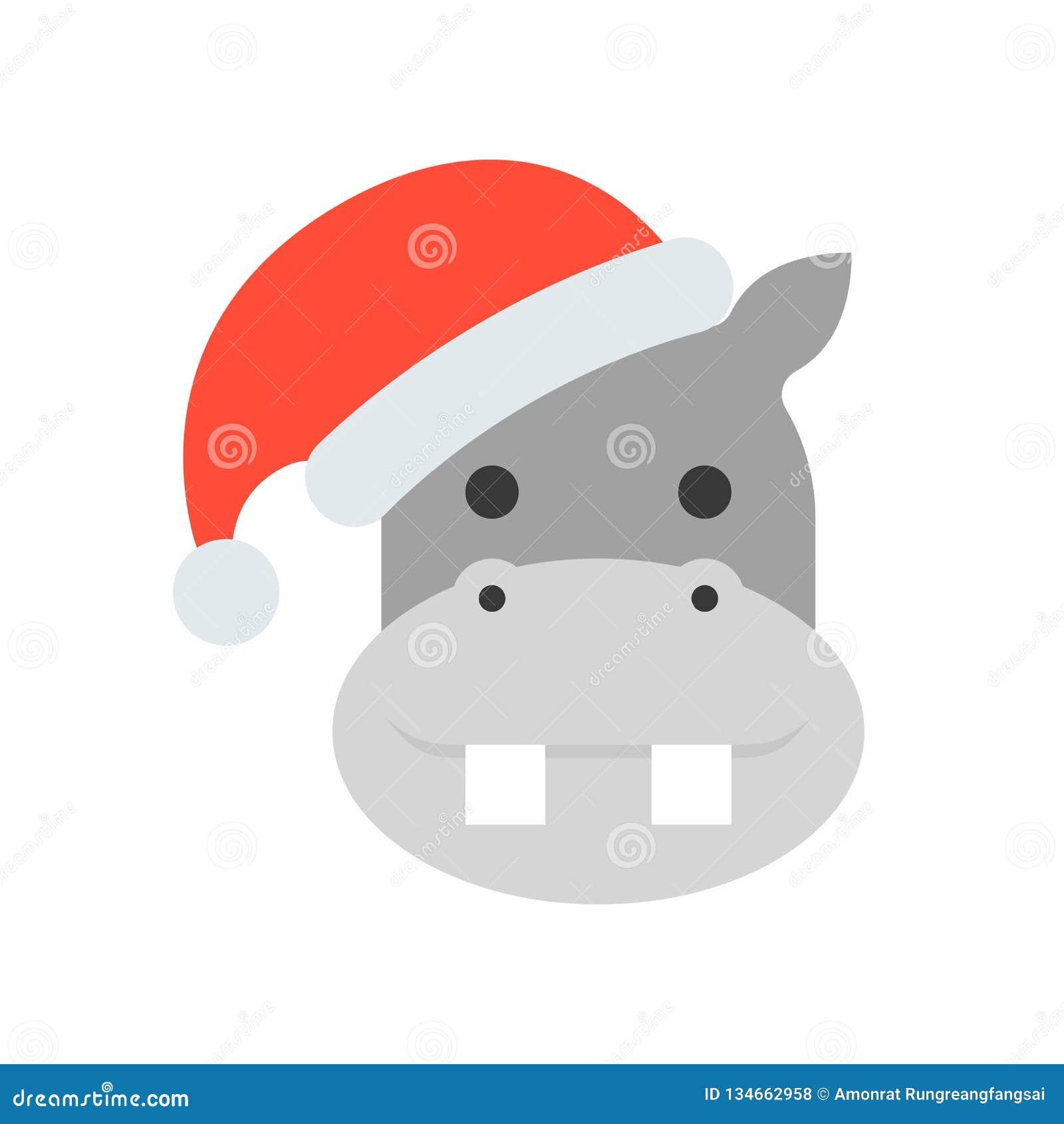 Hippo wearing santa hat flat icon design