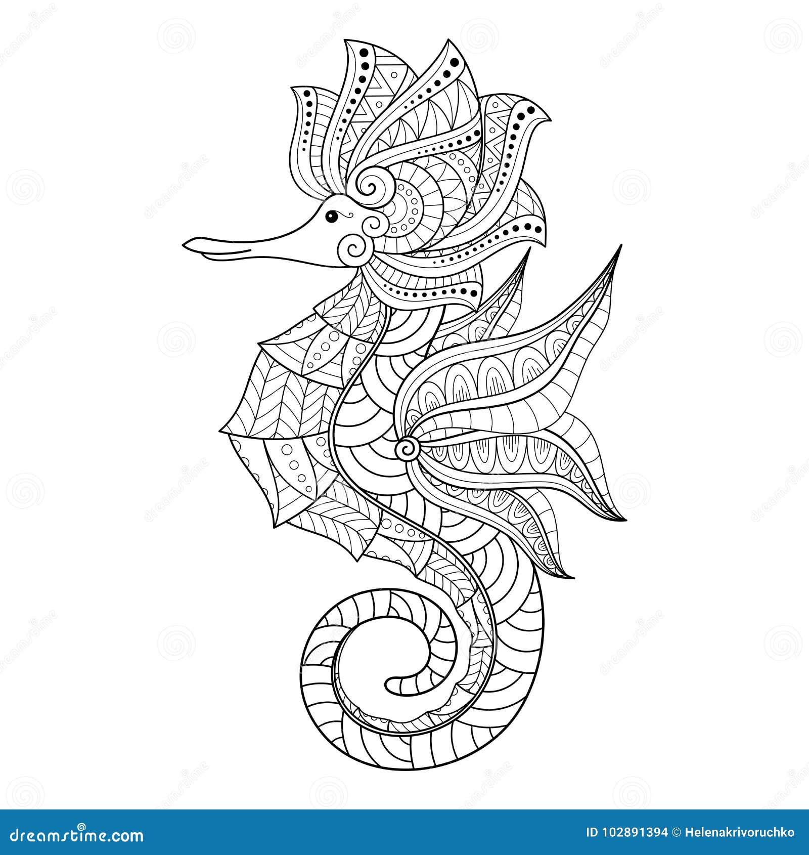 Hippocampe monochrome décoratif tribal de vecteur
