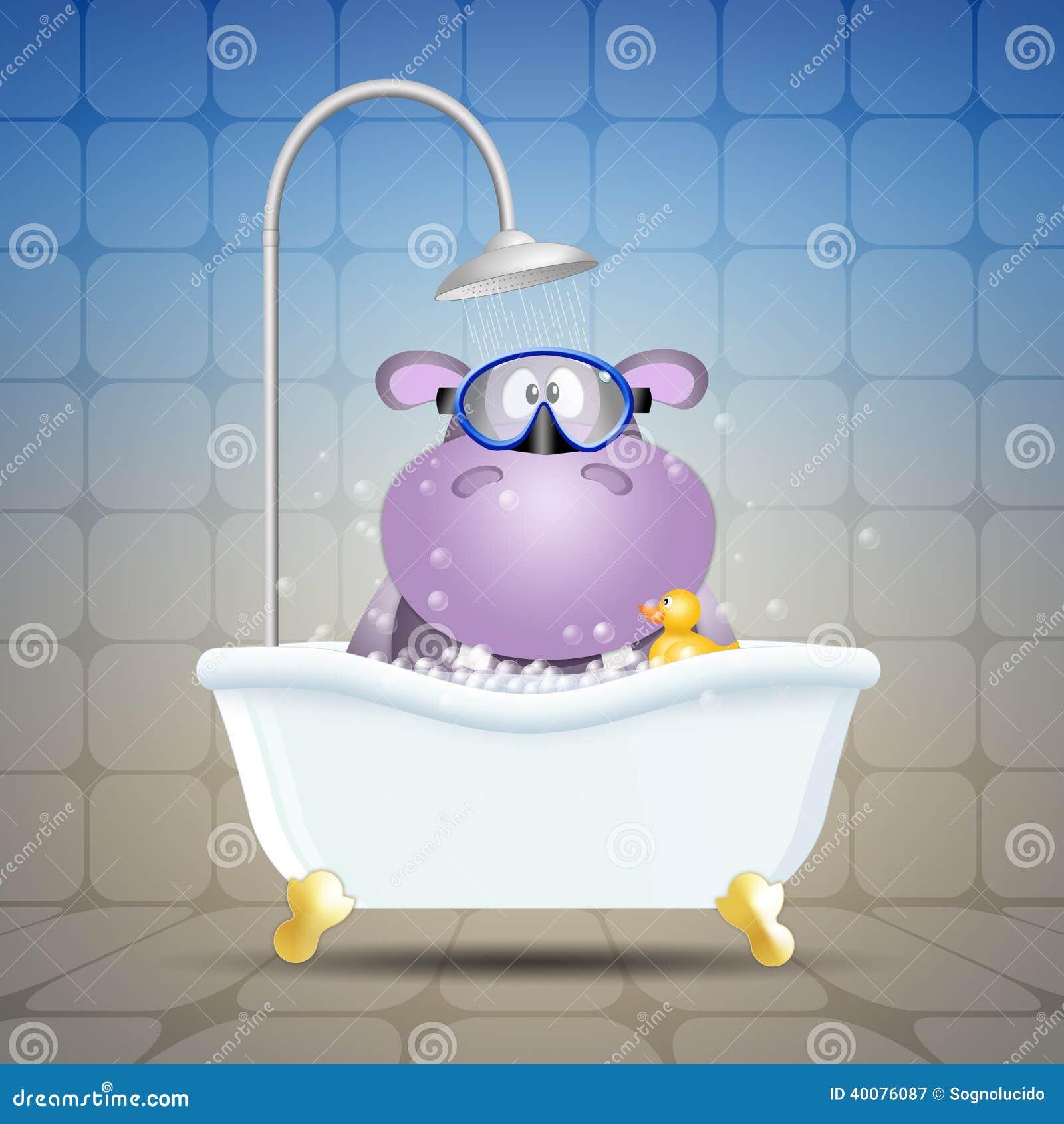 Hippopotame Avec Le Masque De Plongée Sur Le Bain Illustration Stock