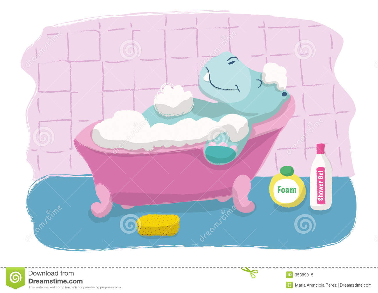 Hippopotamus Bath Stock Vector Image Of Water Bathroom