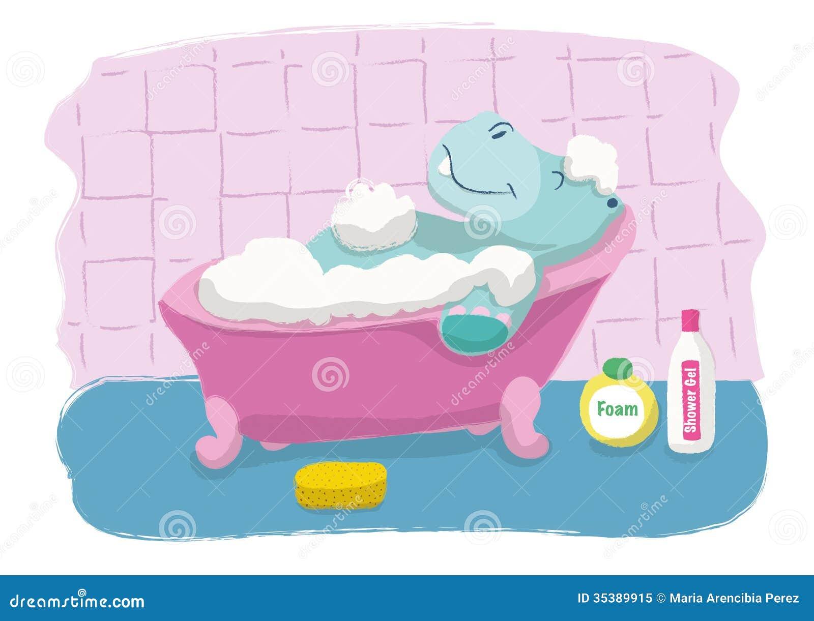 Shower Gel As Bubble Bath Hippopotamus Bath Royalty Free Stock Photo Image 35389915