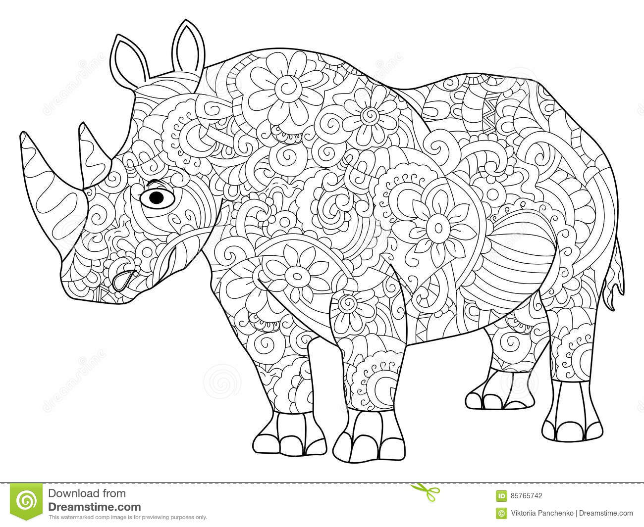 Hippopotamus Animal Coloring Book For Adults Vector Illustration Anti Stress Adult Zentangle Style Black And White Lines Lace Pattern