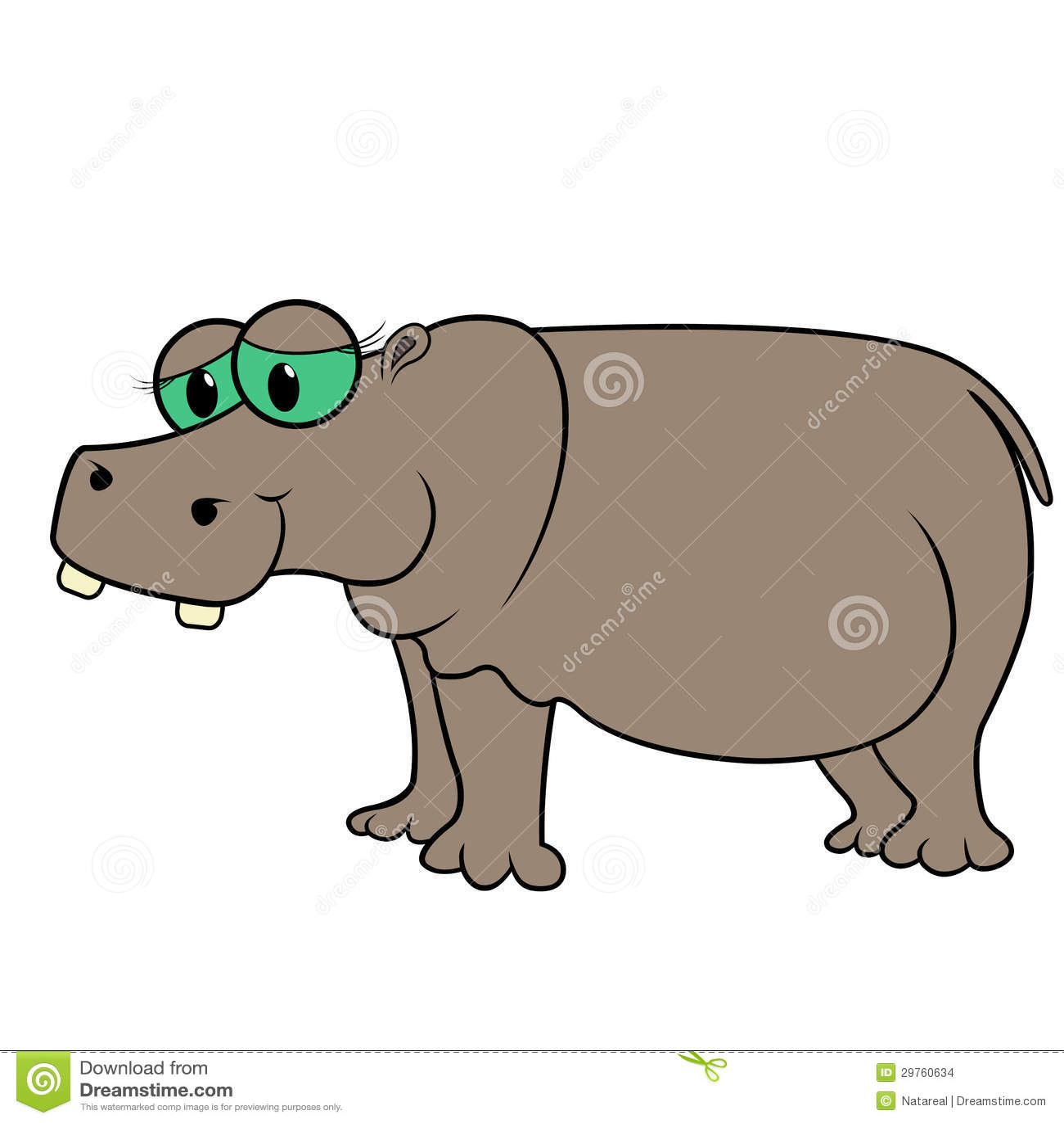 Hippopotamus Cartoon Vector Illustration Stock