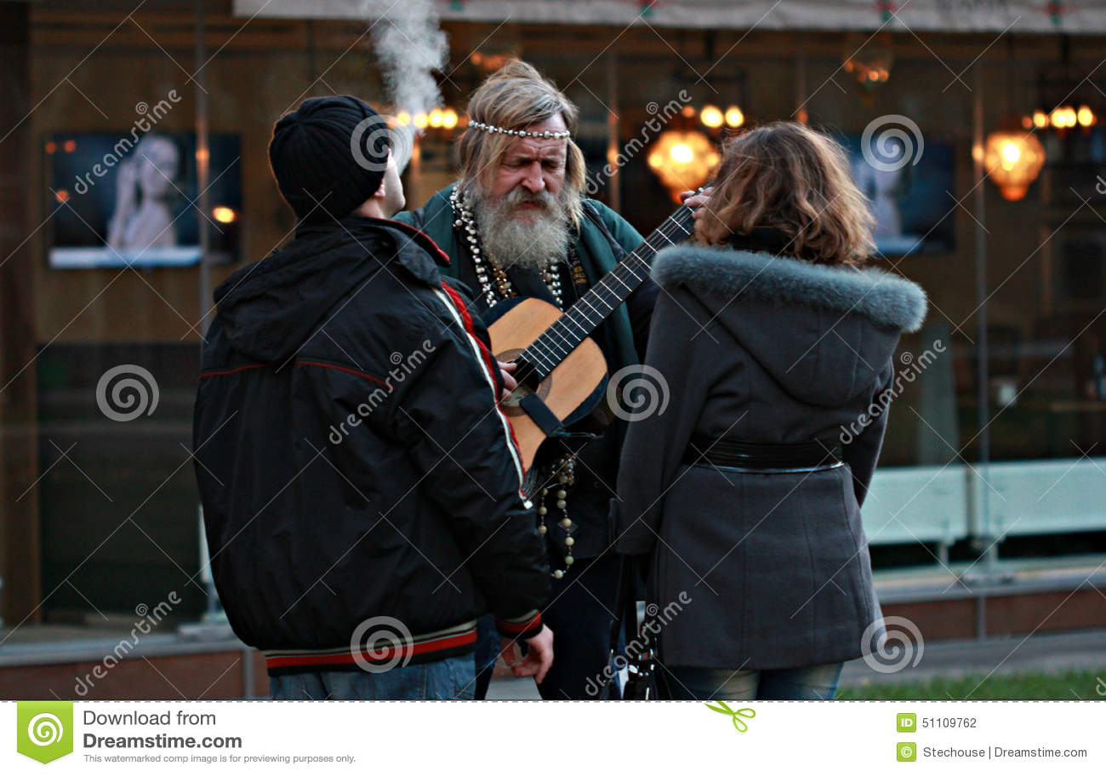 Hippy Man Plays Guitar in Odessa, Ukraine