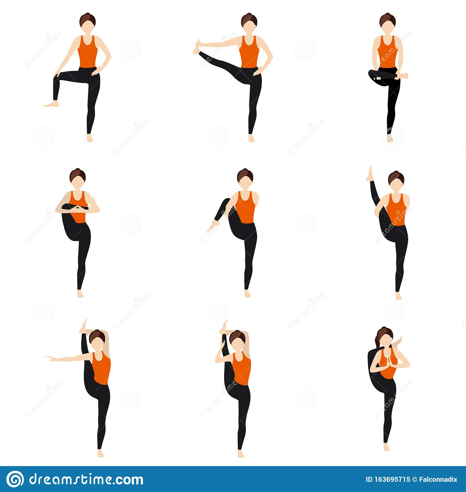 Hips Stretching Standing Yoga Asanas Set Stock Vector Illustration Of Dvijasana Hatha 163695715