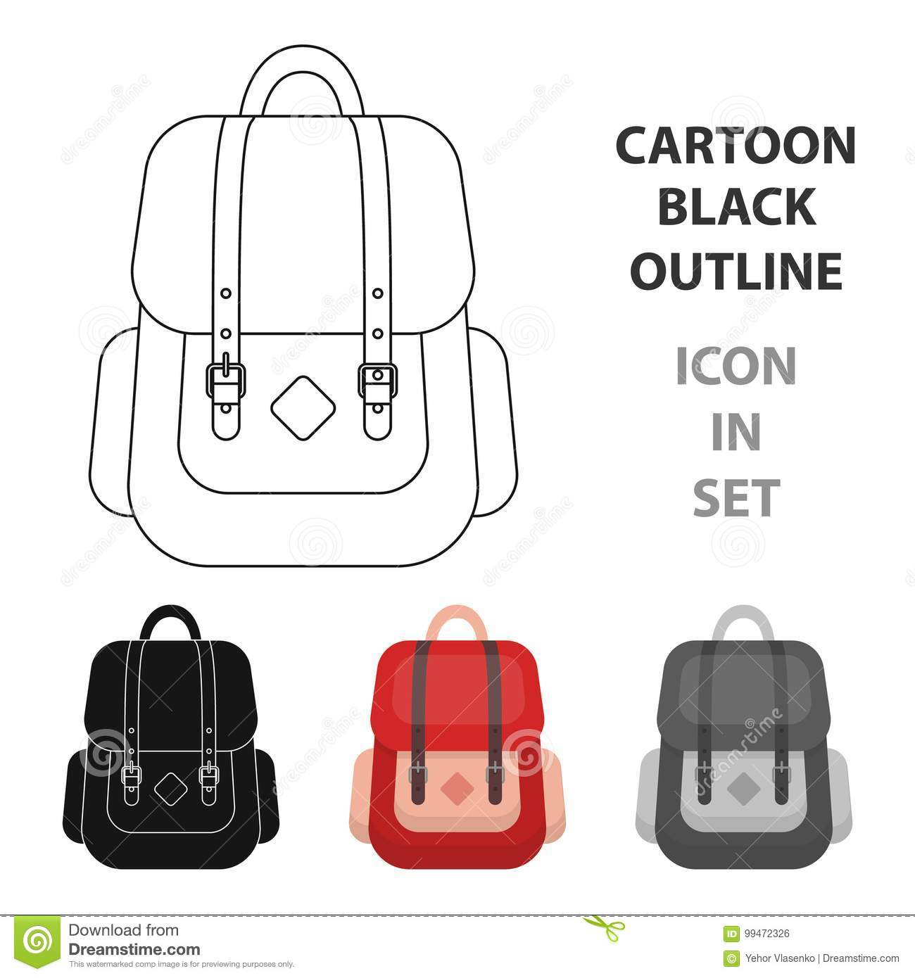 a03076095 Hipster backpack icon in cartoon design isolated on white background.  Hipster style symbol stock vector illustration.