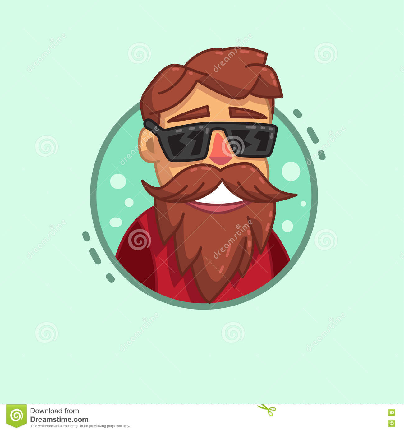 Hipster Beard Profile Icon stock vector. Illustration of ...
