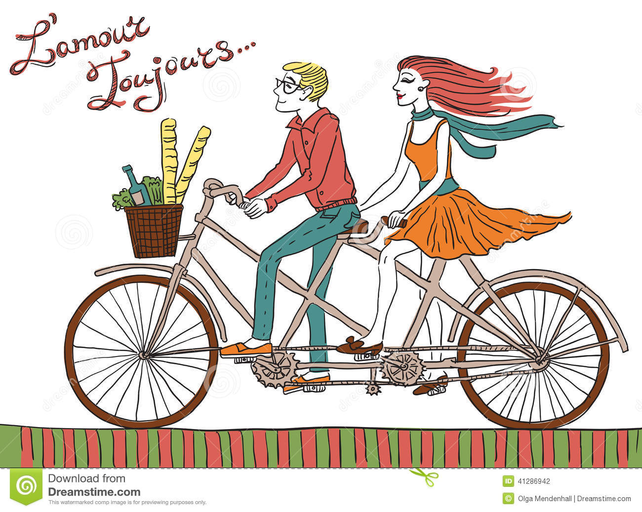 hipster bike couple stock vector image 41286942 tandem bicycle clipart vintage tandem bike clipart