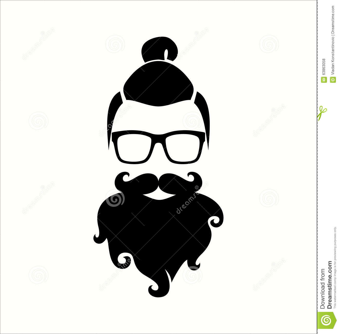 Hipster Black And White. Top Knot Hairstyle. Mustaches ...