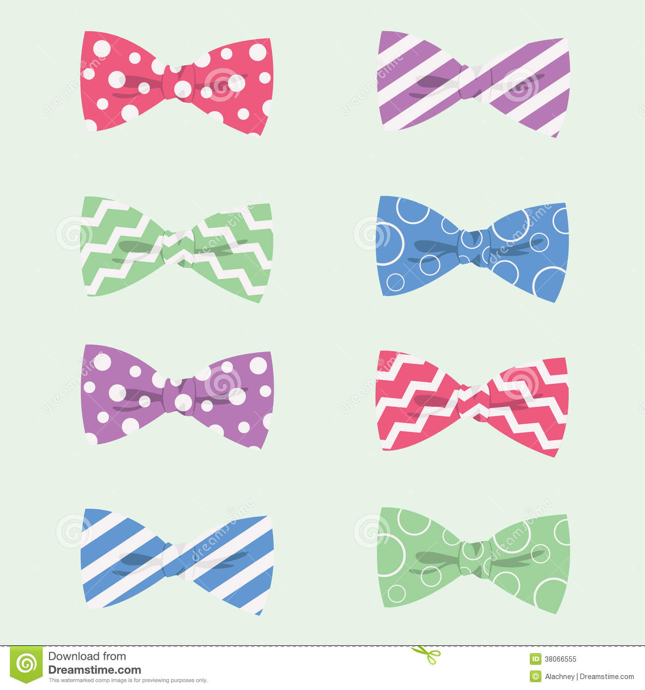Patterned Hipster Bow Ties Vector Illustration Royalty