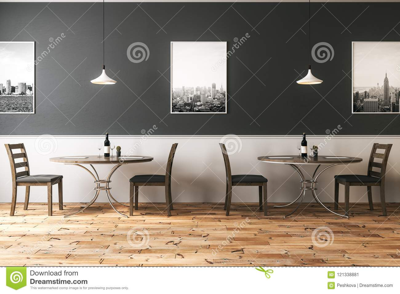 Hipster Cafe With Eco Wooden Furniture Stock Illustration ...
