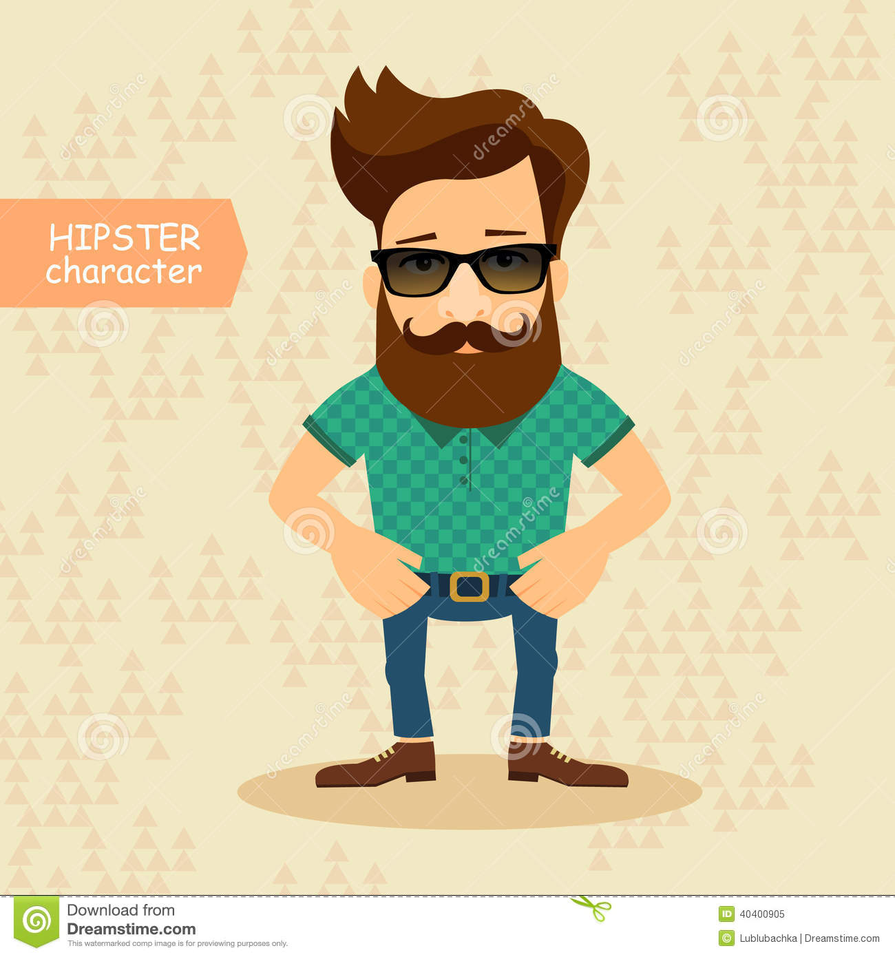 hipster cartoon character vintage fashion style vector