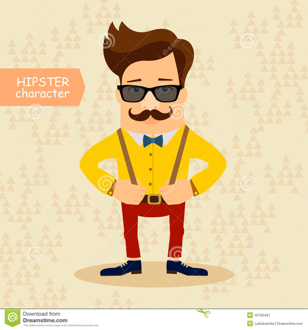hipster cartoon character vintage fashion style vector illustration