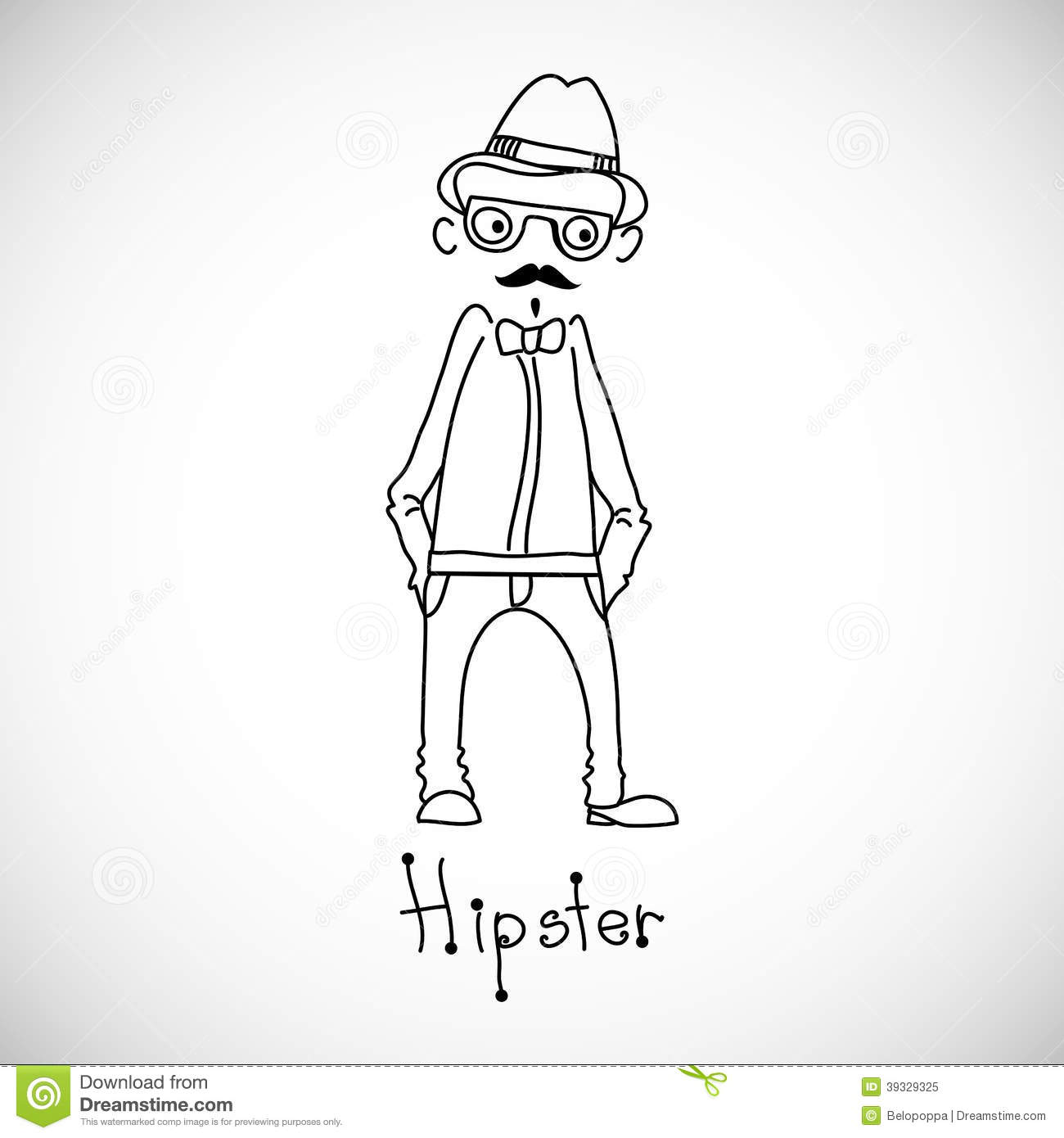 Single Line Character Art : Hipster character design vector illustration stock