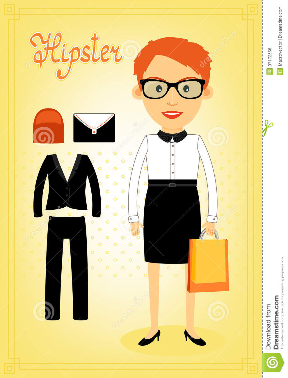 37b43a4706403 Royalty-Free Stock Photo. Hipster character elements for business woman