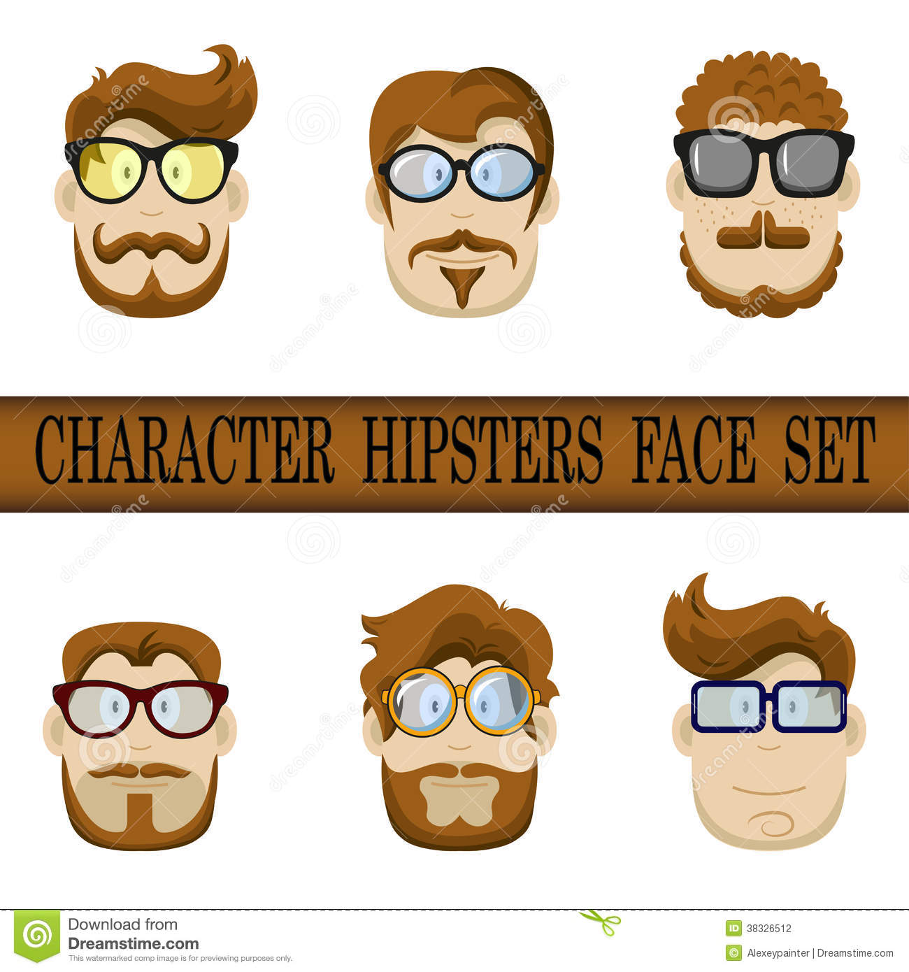 e0280fd84 Hipster character face set. Hipster Character Kit - Hairstyles, Glasses,  Mustaches, Beards.