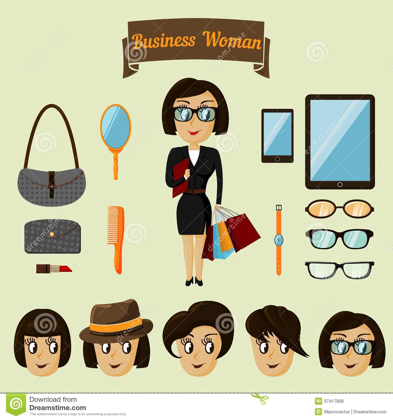 d77691c253341 Royalty-Free Stock Photo. Hipster character pack for business woman