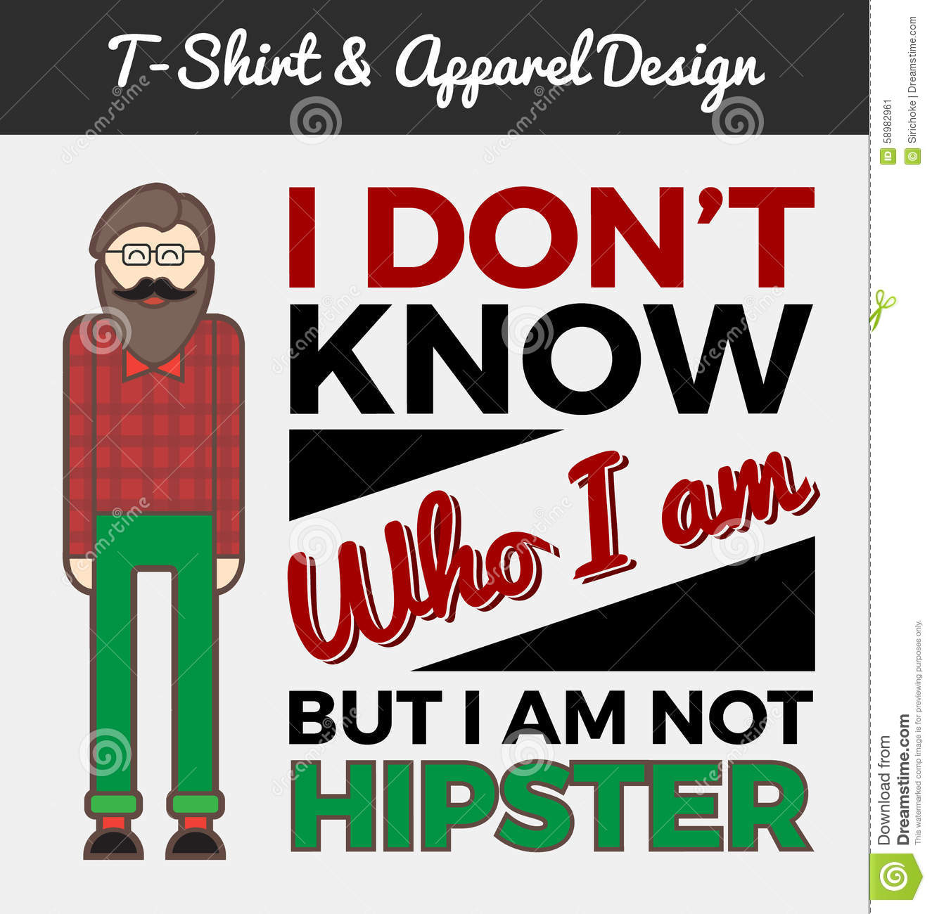 Hipster Character And Typography Design Stock Vector