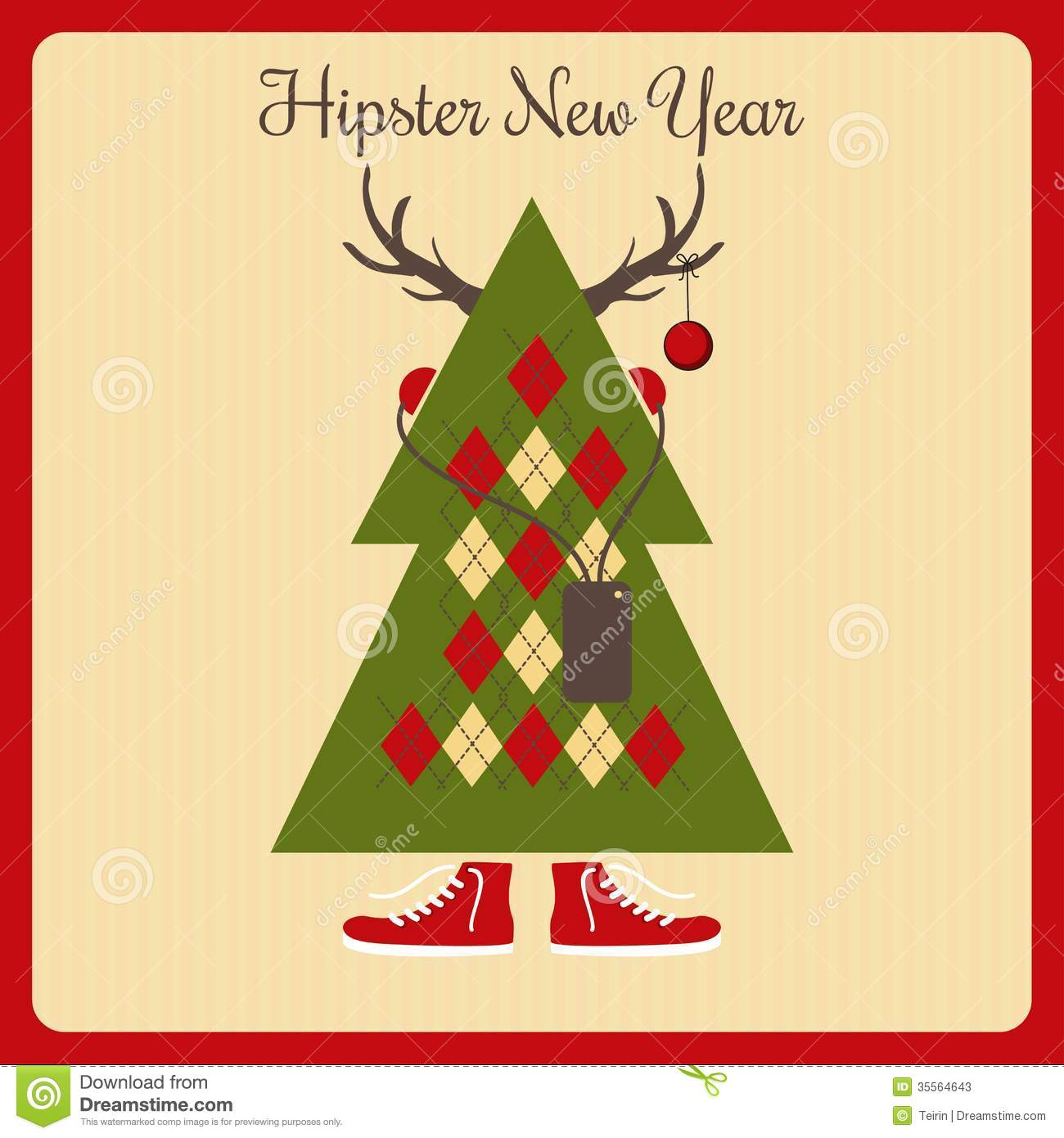 the hipster a christmas tree with accessories stock vector