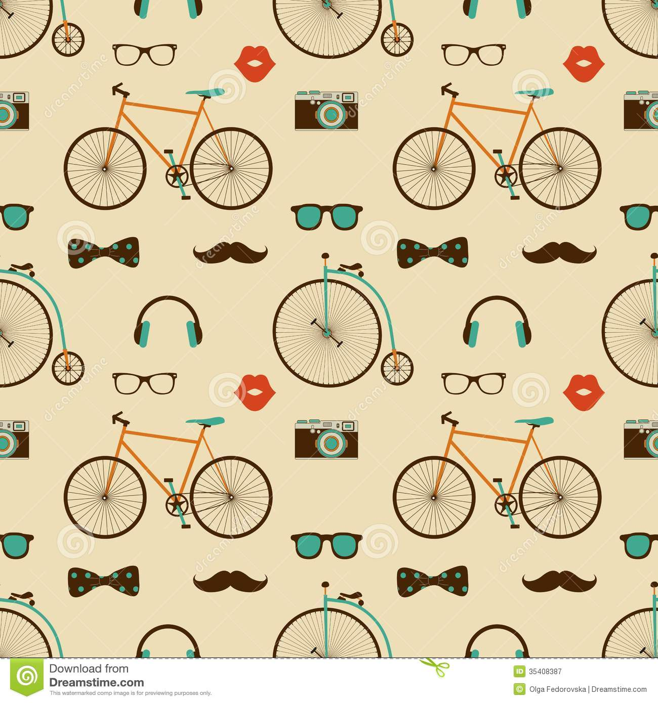 Colorful Mustache Wallpaper Hipster Seaml