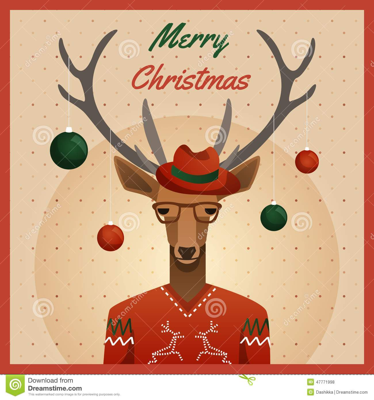 53befce579a Cute Hipster Deer With Hat And Glasses Winter Background Stock ...