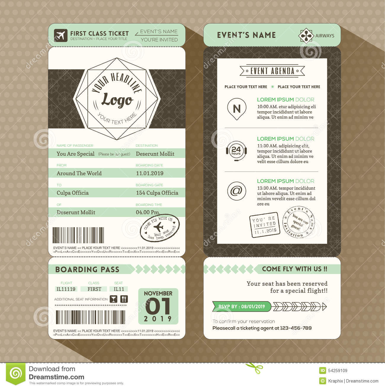 Blank Airline Boarding Pass Ticket Photos Images – Ticket Design Template
