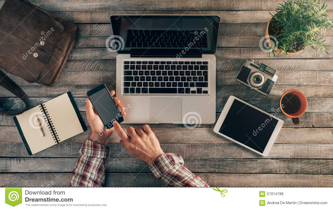 Download Hipster Desktop With Male Hands Stock Photo - Image of hipster, smart: 57014786