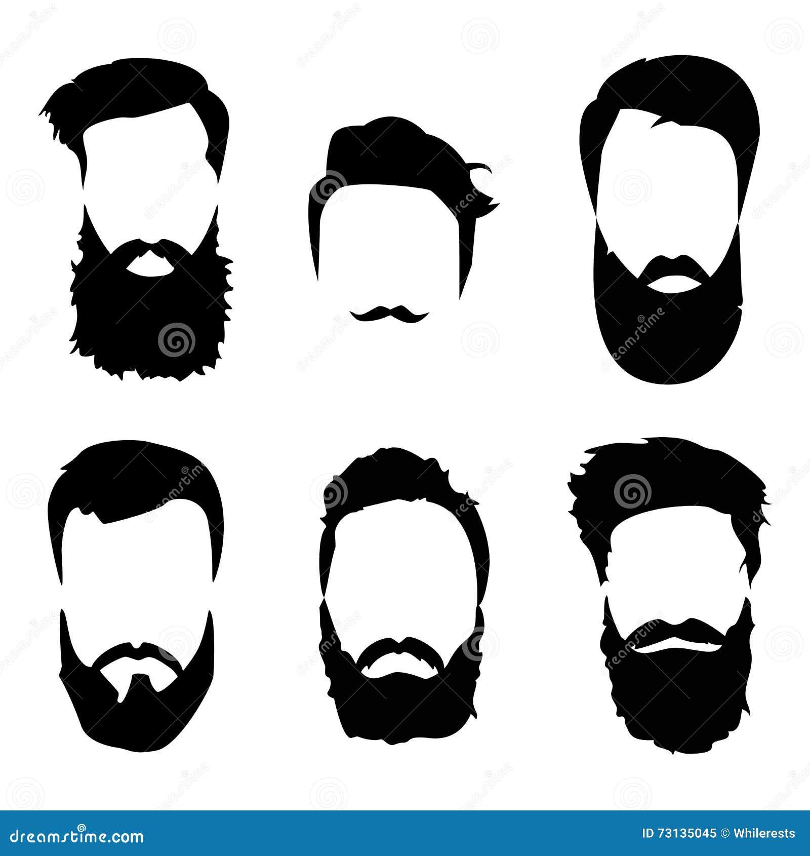 Hipster Hair And Beards Fashion Vector Set Cartoon