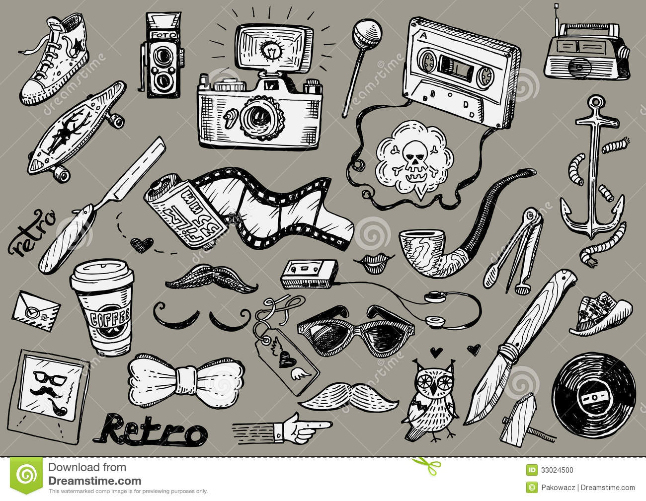 Hipster Doodles Stock Photo - Image: 33024500