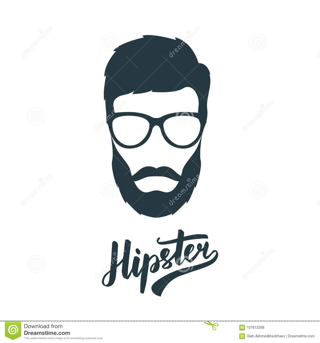 85c54d845 Hipster Face With Retro Glasses. Stock Vector - Illustration of ...