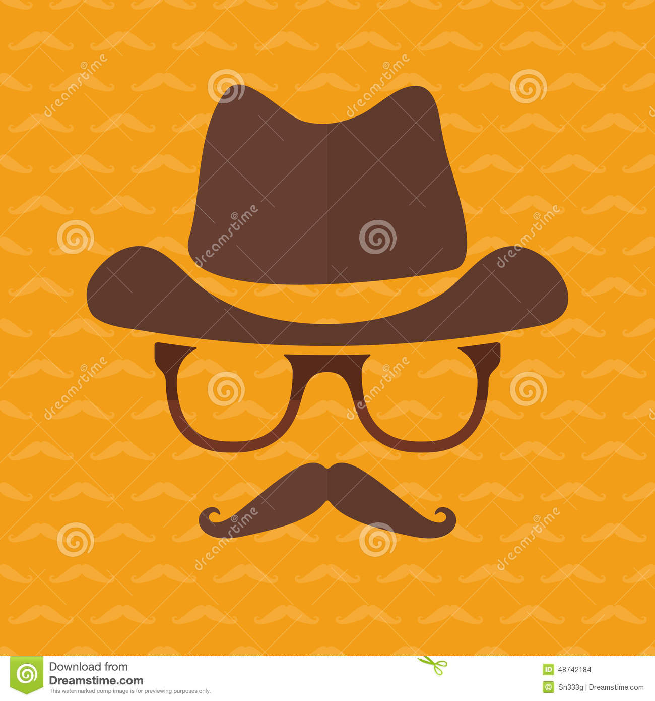 Hipster Face Silhouette In Flat Style Stock Vector