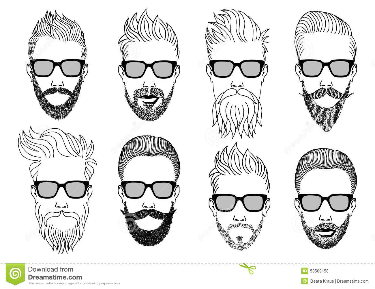 Hipster faces with beard and mustache, hand-drawn illustration, vector ...