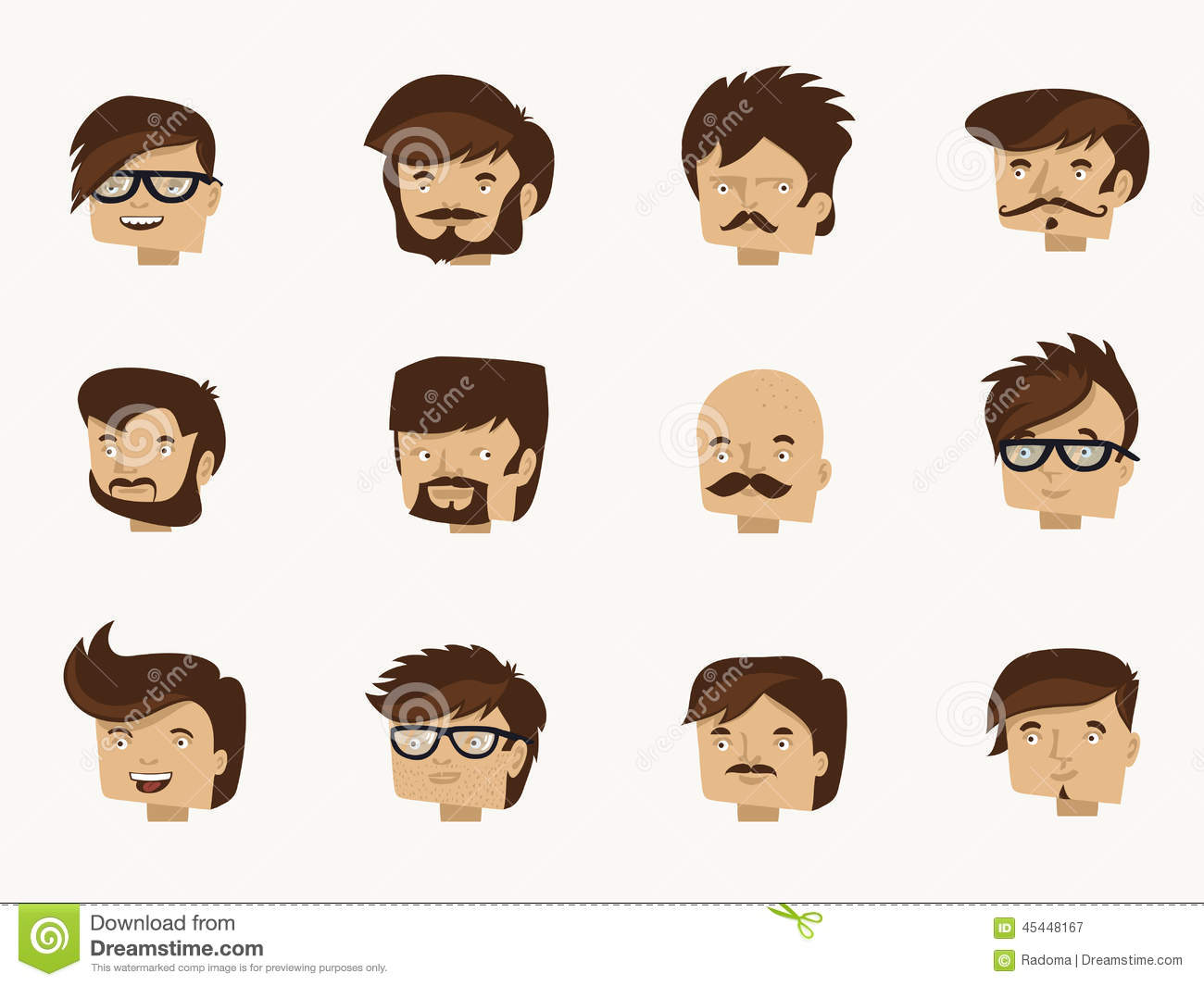 Character Design Face Shapes : Hipster faces flat character design collection stock
